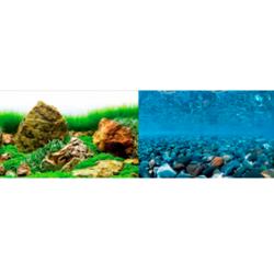 Фон двусторонний Речные камни/Море зелени, 60 см.