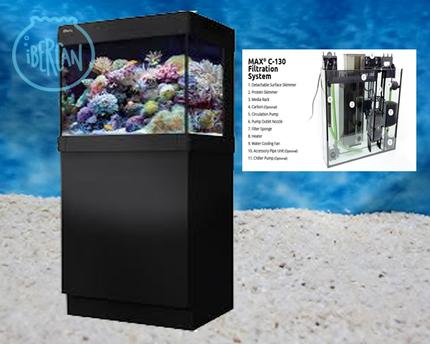 Аквариум MAX C-130 рифовая система - черный (аквариум и тумба)